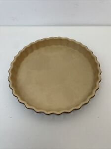 Vintage Emile Henry Fluted Flan Quiche Pie Oven Fireproof Brown Dish 23.5cm B6