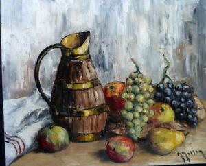 Stillleben Früchte Trauben Krug Impressionist Unterzeichnet zu Identifizieren Xx