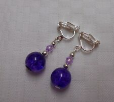 Hand made purple crackle glass clip on earrings silver plated small crystals