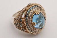 Turkish Jewelry Oval Cut London Blue Topaz 925 Sterling Silver Ring Size All