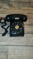 VINTAGE  ROTARY BLACK BELL SYSTEM BY WESTERN ELECTRIC TELEPHONE METAL BASE  DESK