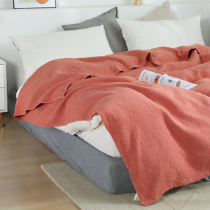 Cotton blanket king size bed cover lattice bed sofa 4-layer gauze thin blanket
