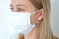 Mund-Nasen-Maske Gesichtsmaske 3-lagig Baumwolle Filter + Vlies waschbar WEISS