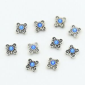 Silver Plated Metal Sliders Spacer Beads With Blue Swarovski Crystal 10 Pieces