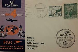 J) 1960 CHILE, AIRPLANE, MAP, FIRST FLIGHT BETWEEN LONDON AND SANTIAGO, CIRCULAT