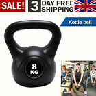 UK Vinyl Kettlebell Weight Fitness Home Gym Workouts Kettlebells 8KG-20KG Black