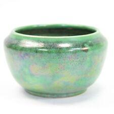 Ruskin Pottery lustre bowl mottled green & black iridescent glaze 1930