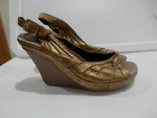 Sexy Volatile Gold Leather Slingback Wedge High Heels Peep Toe Shoes Size 8