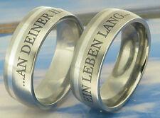 2 anillos de Titanio Bodas Compromiso Con Grabado Láser exterior