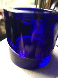 IIttala Finland Marimekko KIVI Cobalt Blue Votive Glass Candle Holder
