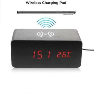 Holz Wecker QI Ladestation Wireless externer Charger Ladegerät induktiv Schwarz