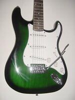 New Full Size 6 String Transparent Green S Style Electric Guitar + Gig Bag