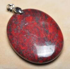 "Extremely Red Natural Bloodstone 925 Sterling Silver Clasp 2"" Pendant #P12150"