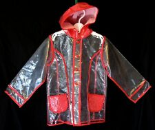 Girls M&S Clear Red White Polka Spot Hooded Waterproof Rain Coat Age 3-4 Years