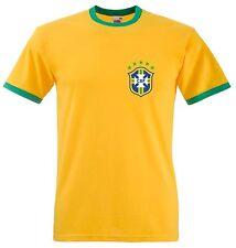 Retro Brazil Football T Shirt - Slim fitting FOTL Ringer Tee