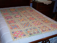 Antique Yo Yo Quilt, Superb Feedsack Prints,Very Good Vintage Condition, c1930