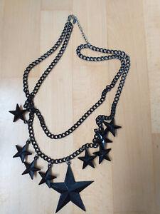 Tolle Modeschmuckkette aus Boutique mit Sternen schwarz 72 cm