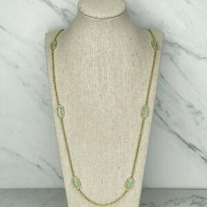 Kendra Scott Kellie Long Chalcedony Light Green Station Necklace
