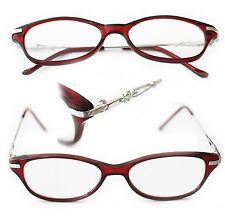 Petite Lightweight Reading Glasses Metro City Polished Red Topaz Frame +3.25