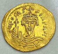 ANCIENT BYZANTINE GOLD COIN OF PHOCAS. SOLIDUS 602 - 610 A.D. CHOICE COIN!