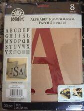 "Plaid 50316 Stencil Folk-Art Paper Alphabet & Monogram, 8"" NEW"
