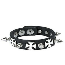 Silver Cross Spike Black Leather Bracelet Snap Strap K32