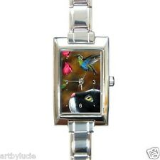 Rectangular Italian Charm Watch Cat 571 tuxedo Hummingbird from art painting