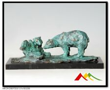 Milo Bronze Statue Mother Bear Playing With Her Cub