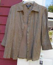 "STYLE & CO. NWT Brown/Metallic 3/4 Sleeve Button Shirt/Tank Size 8 (42"") Medium"