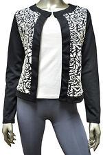 Rose Jacard White Black Women's Cardigan Sweaters Size M