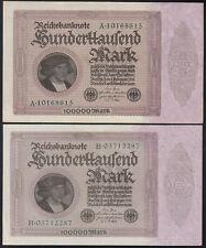 2x 100.000 Mark 1.2.1923 - Serie A + B - Reichsbank (Ro.DEU-93a)