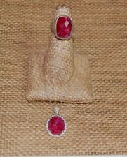 Or Paz Sterling Silver Ruby Pendant & Ring size 8, Made in Israel