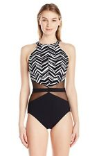 Profile by Gottex black white mesh waist one piece swimsuit 14