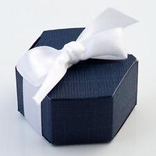 Navy Silk Hexagonal Box PACK OF 10 Wedding Favour Gift 16213