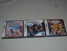 NINTENDO DS VIDEO GAME LOT OF 3 MY SIMS PARTY SIMCITY CREATOR AGENTS COMPLETE >>