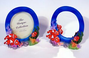 """Tropical Nemo Fish with Baby Photo Frame & Mirror Sculpture for 5x3.5"""" Photo s/2"""