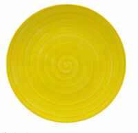 Tabletops Unlimited Yellow SWIRL Hand Painted Collection Plate Dinner 10 1/2