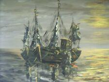 Original Large Old 70's 80's Maritime Boats Oil Painting V YELLAND Framed