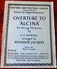 HANDEL ALCINA OVERTURE FOR STRING ORCHESTRA SHEET MUSIC (1947) VIOLIN CELLO VIOL
