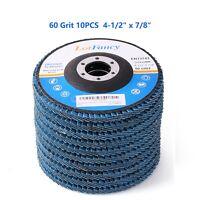 """10x 4-1/2"""" 60 Grit Zirconia Flap Sanding Grinding Discs 7/8"""" Angle Grinder Wheel"""