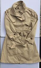 Bebe Trench Coat Taupe Beige  3/4 Sleeve Funnel Neck Women's Size S New