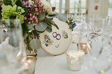 Cross-Stitched Floral Wedding Table Numbers 1-12