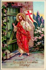 Vintage Czech EASTER Religious Embossed Postcard Jesus Christ / Gold Accents