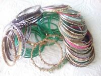 Huge lot of assorted color bangle bracelets with accents. Gold, silver, green +