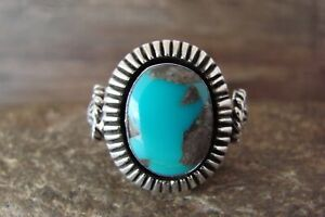 Navajo Indian Jewelry Sterling Silver Turquoise Ring Size 9.5 - Platero