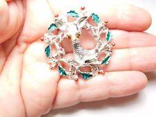 Christmas Reindeer Brooch Holly Leaf Wreath Silver Tone Metal Vintage