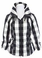 Cheryl Nash Windridge Buffalo Plaid Black White Windbreaker Jacket Womens Sz S