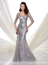 NEW MONTAGE Mon Cheri 216971 Formal Evening SILVER GRAY Sequin Beads GOWN Size 8