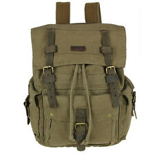 Vintage Canvas Leather Backpack Rucksack Satchel Military Travel School Bag Mens