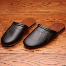 Mens Loafers Slippers Cow Leather Indoor Flats Home Shoes Comfortable Slippers
